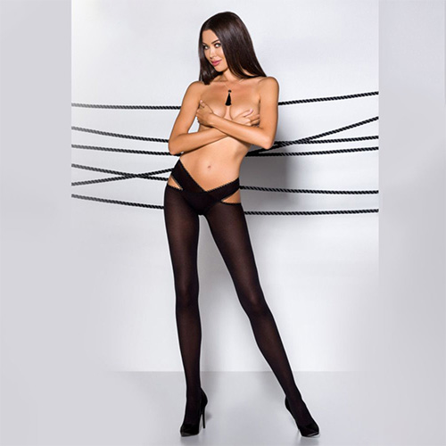 Passion Cross Over Hip Two Piece Tights - Black
