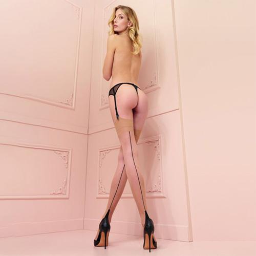Pennac Seamed Stockings Beige with Black Seam