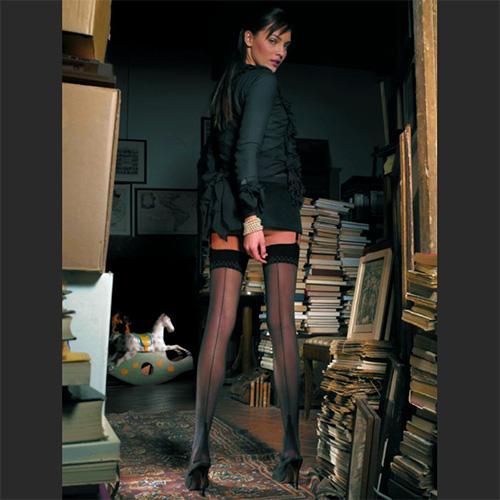 Pennac Seamed Stockings Black with Black Seam